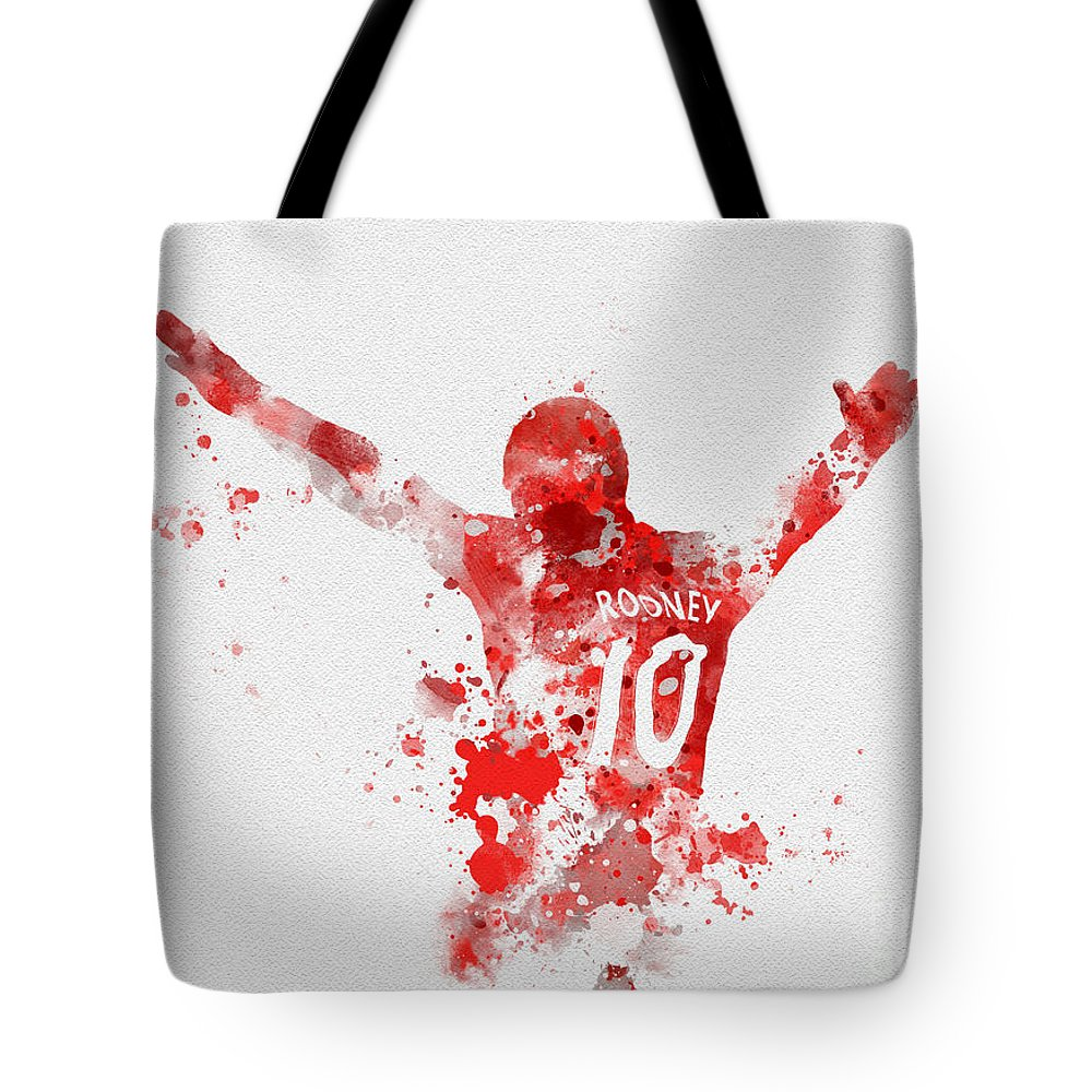 Wayne Rooney Tote Bag featuring the mixed media Red Devil by Rebecca Jenkins
