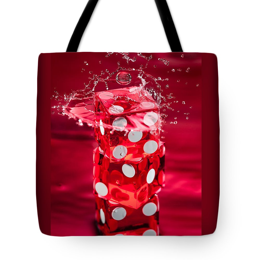 Dice Tote Bag featuring the photograph Red Dice Splash by Steve Gadomski