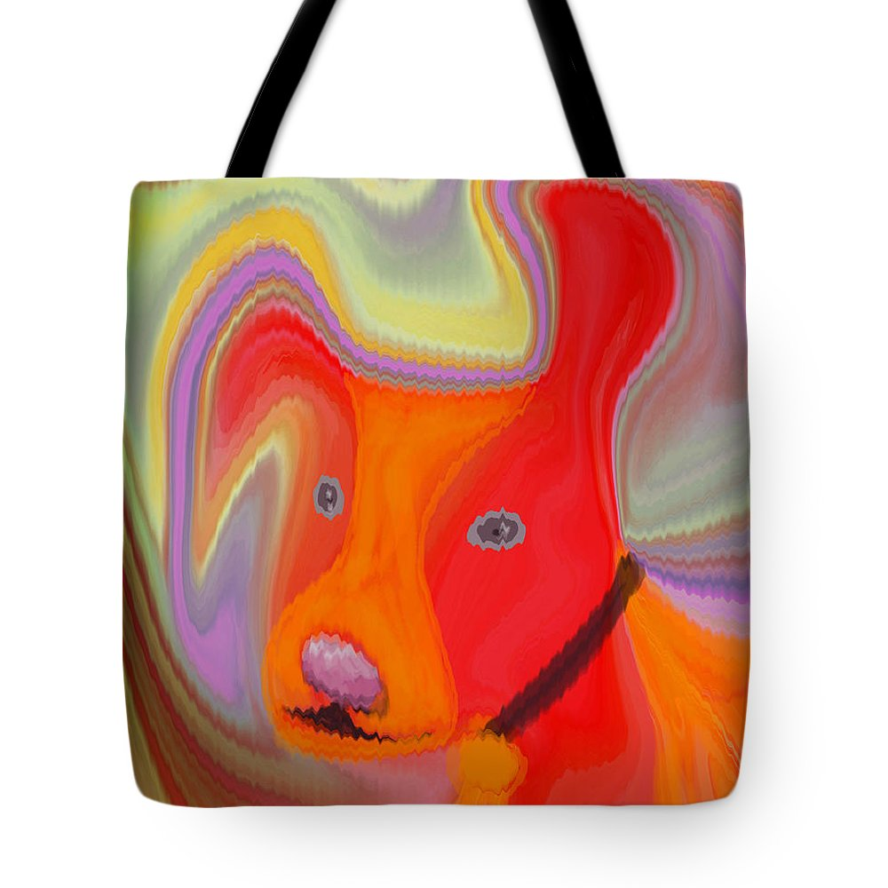 Abstract Tote Bag featuring the digital art Red Dog by Ruth Palmer