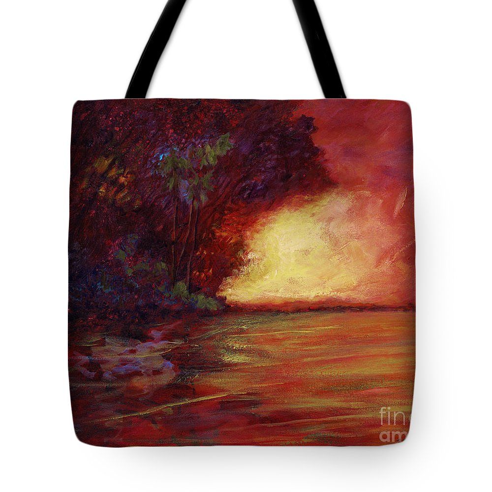 Impressionism Tote Bag featuring the painting Red Dusk by Julianne Felton