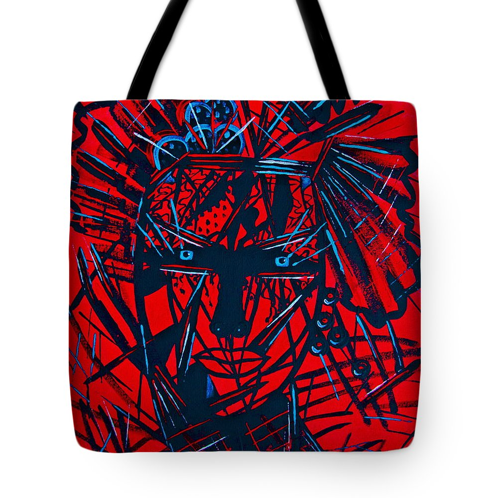 Abstract Tote Bag featuring the painting Red Exotica by Natalie Holland