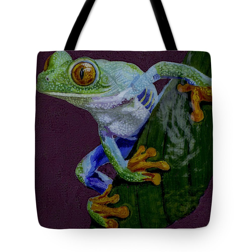 Red Eyed Tote Bag featuring the painting Red Eyed Tree Frog Original Oil Painting 4x6in by Manuel Lopez