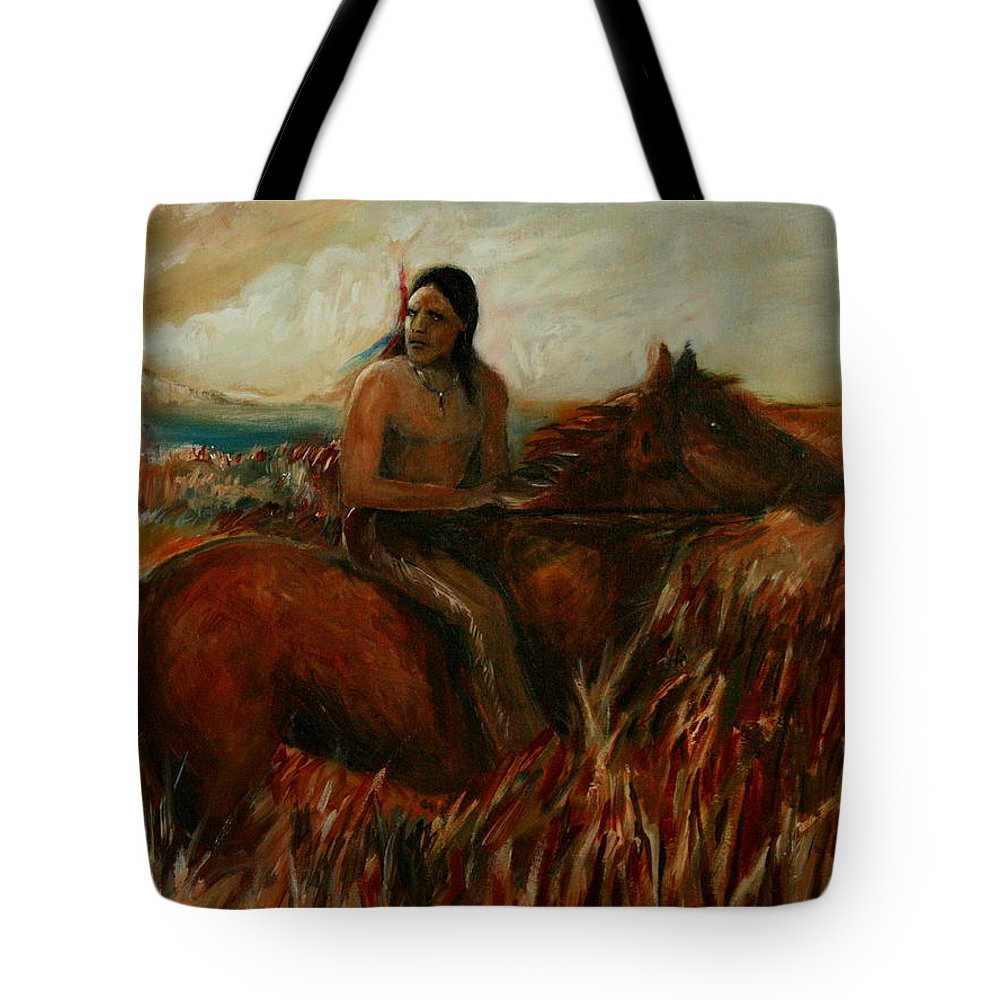 Horse Tote Bag featuring the painting Red Feather by Jun Jamosmos