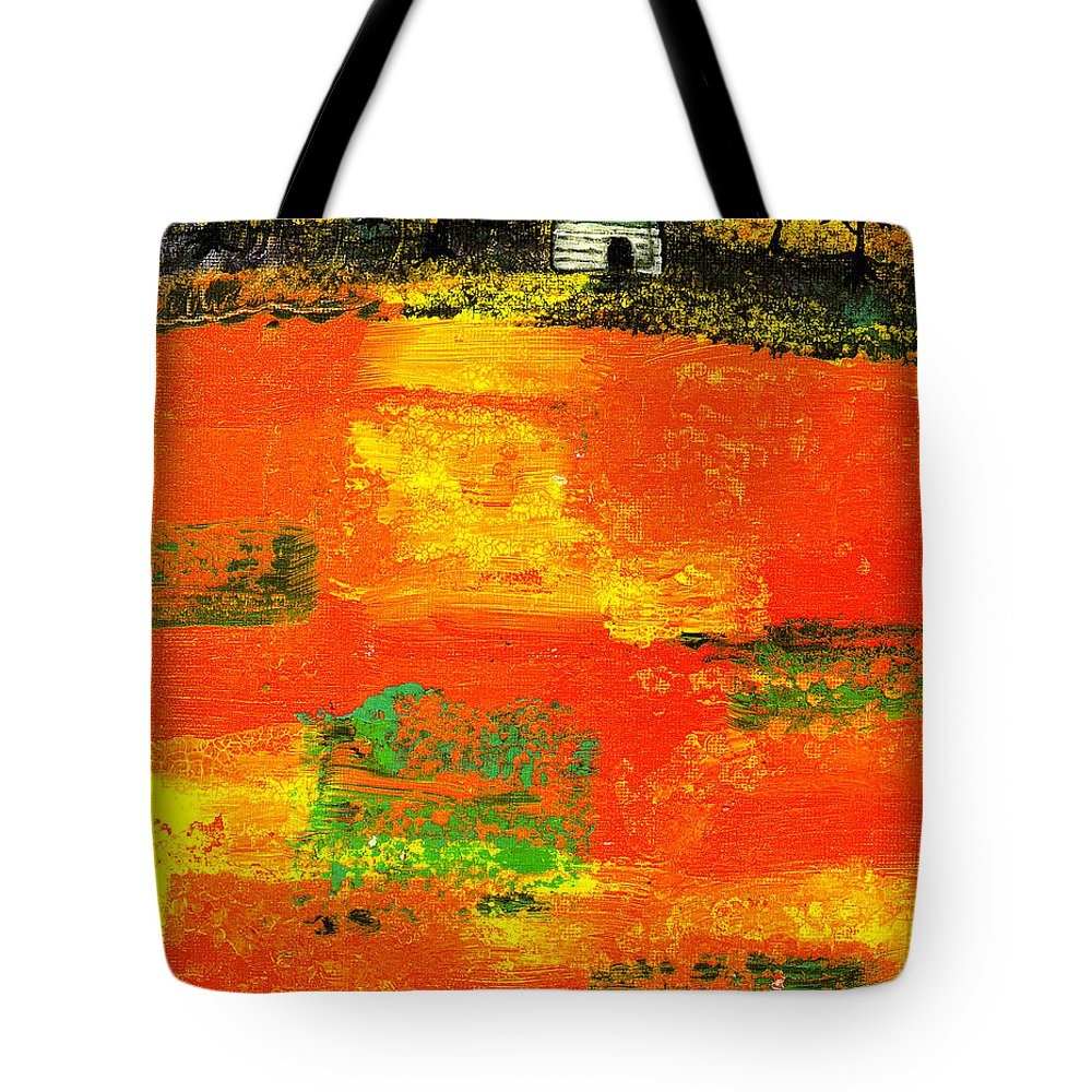 Rural Tote Bag featuring the painting Red Fields by Wayne Potrafka