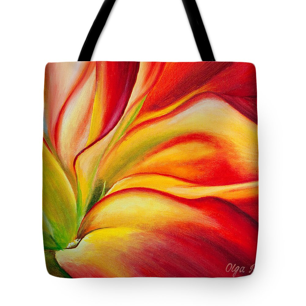 Red Flower Tote Bag featuring the painting Red Fire by Olga Smith