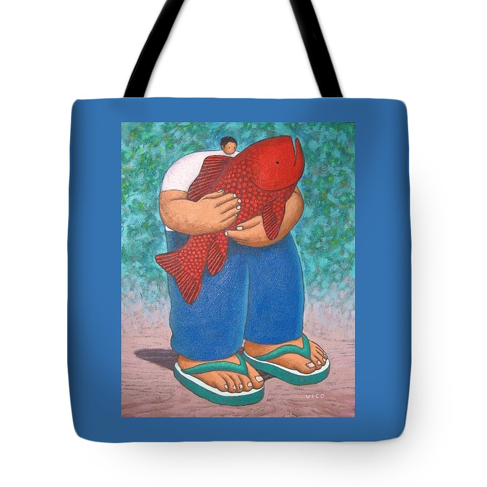 Acrylic Tote Bag featuring the painting Red Fish And Blue Trousers. by Vico Vico