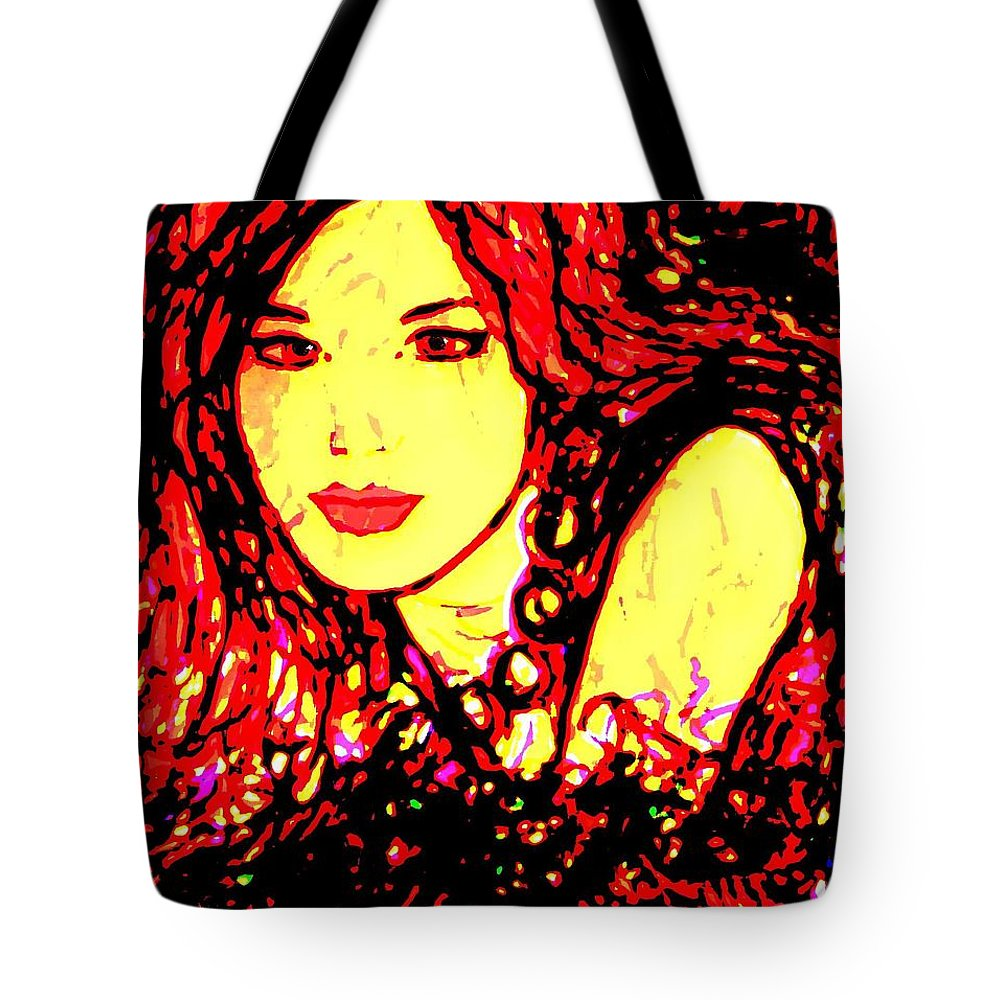 Woman Tote Bag featuring the painting Red Flirt by Natalie Holland