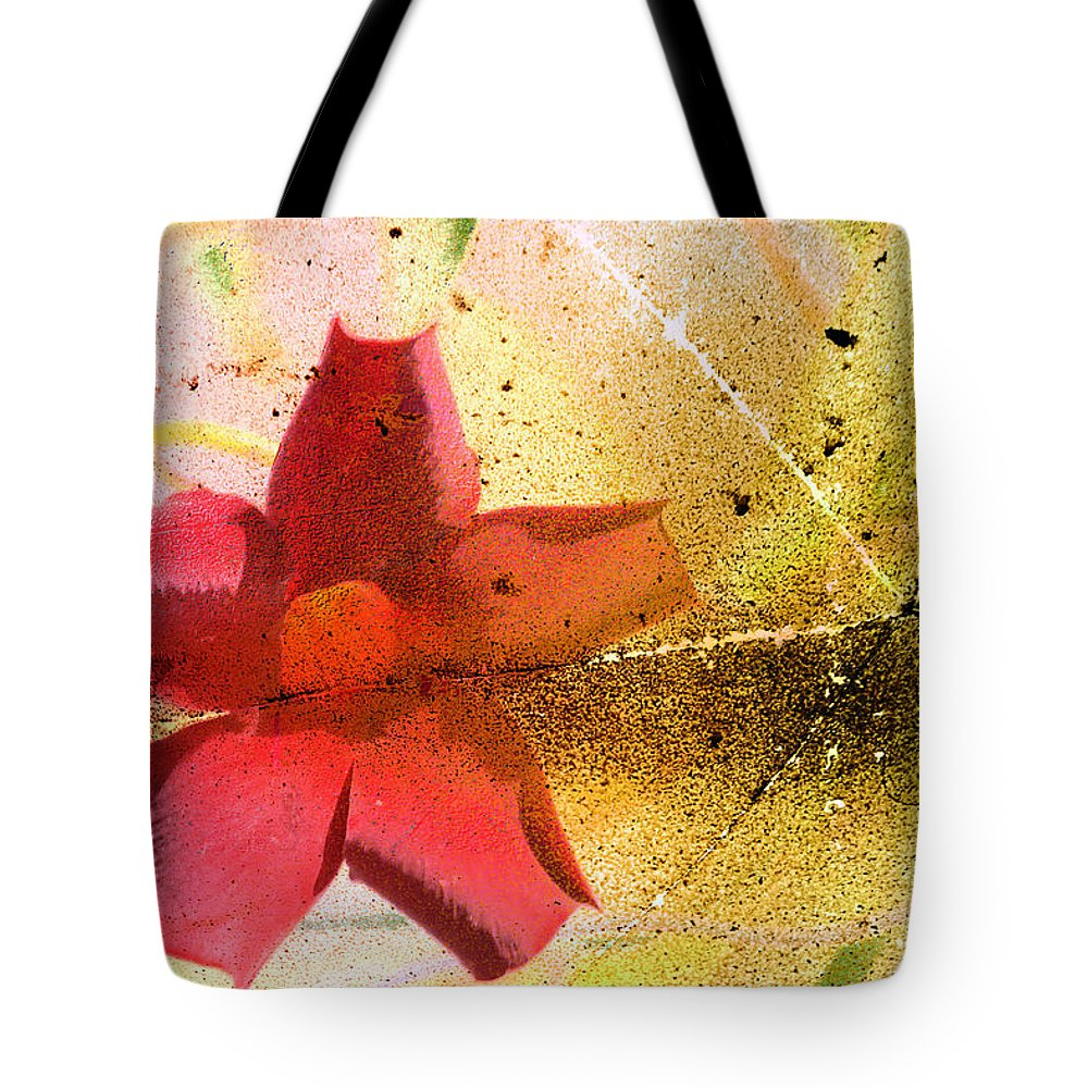 Red Tote Bag featuring the photograph Red Floral Grunge by Cassie Peters