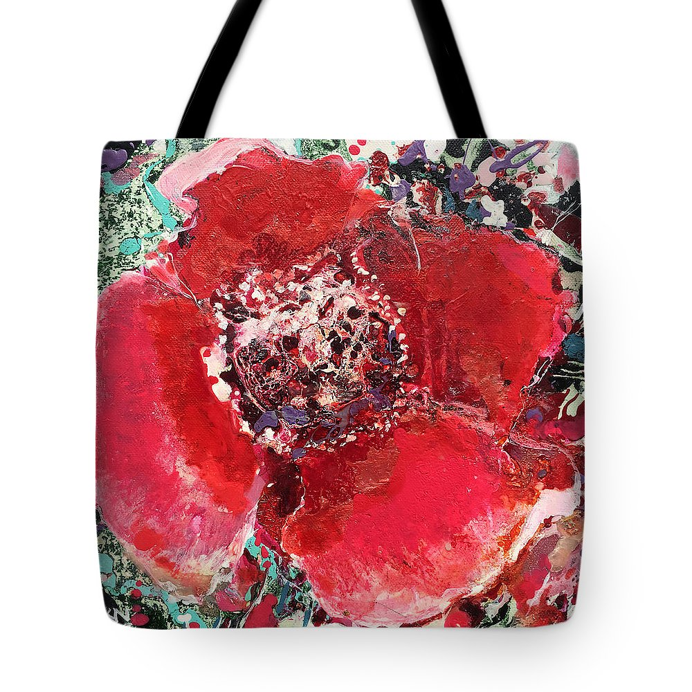 Flower Tote Bag featuring the painting Red Flower, by Natalia Kuruch