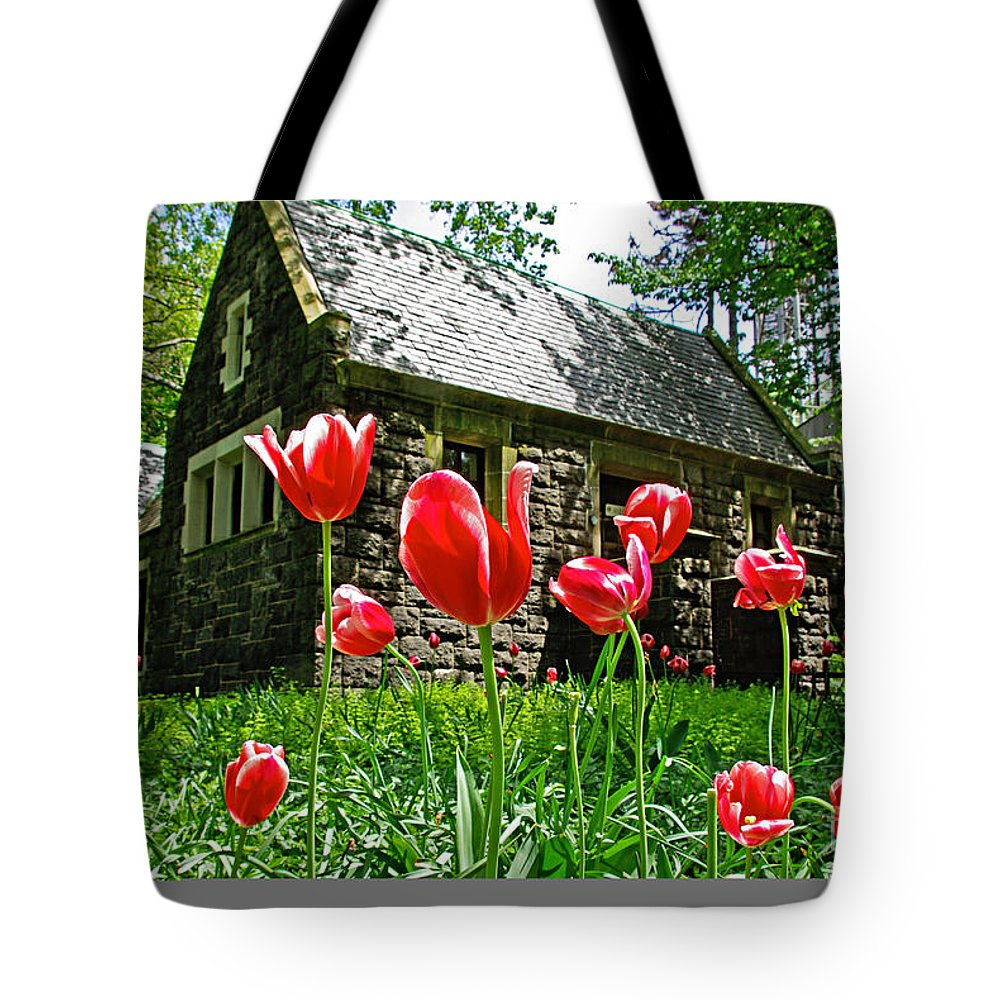 Red Tote Bag featuring the photograph Red Flowers In Central Park by Zalman Latzkovich