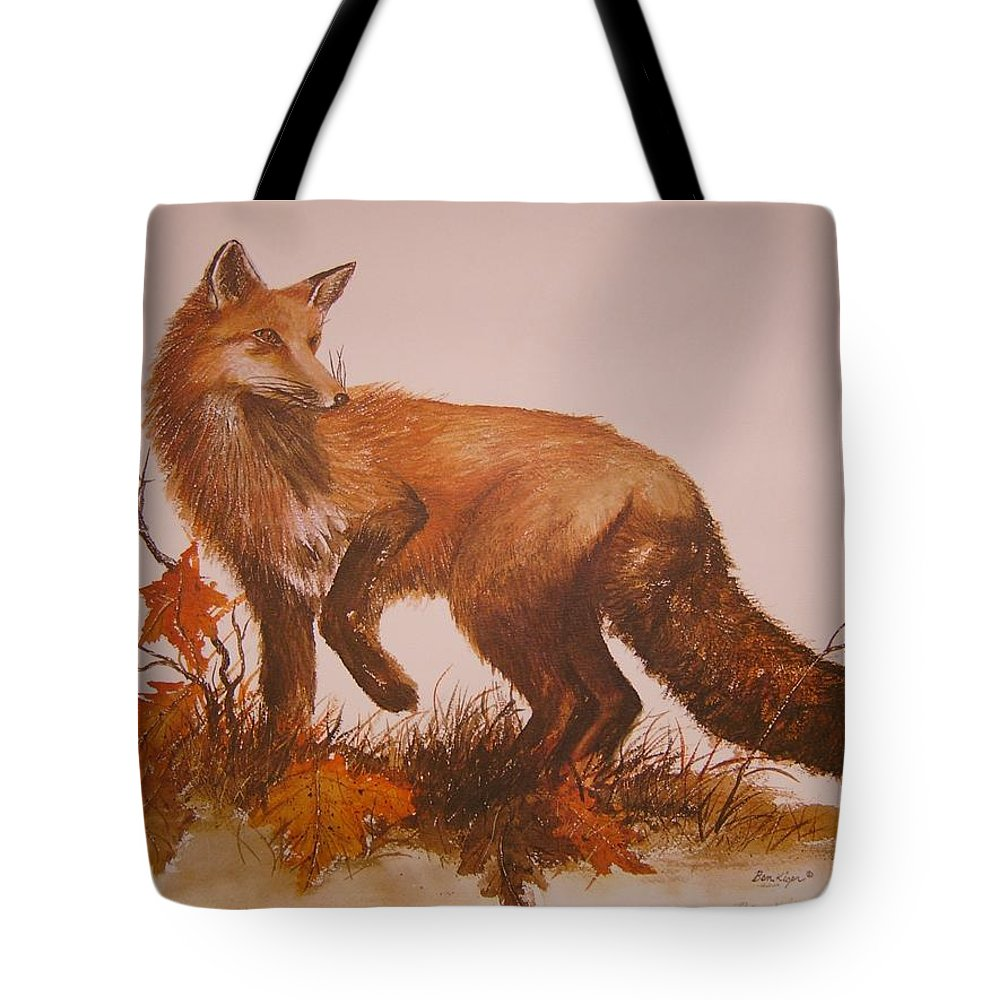 Nature Tote Bag featuring the painting Red Fox by Ben Kiger