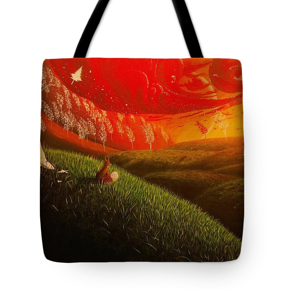 Realism Tote Bag featuring the painting Red Fox..peaceful by Aldo Sifuentes