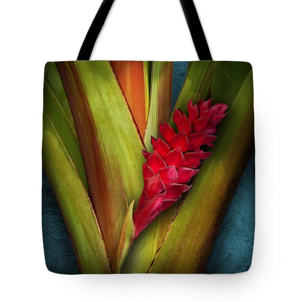 Flower Tote Bag featuring the photograph Red Ginger Window by Cesar Palomino