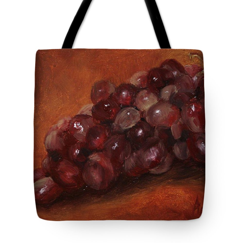 Fruit Tote Bag featuring the painting Red Grapes by Barbara Andolsek
