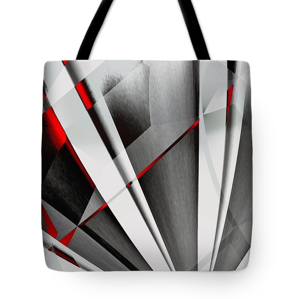 Abstractum Tote Bag featuring the digital art Red-grey Abstractum by Max Steinwald