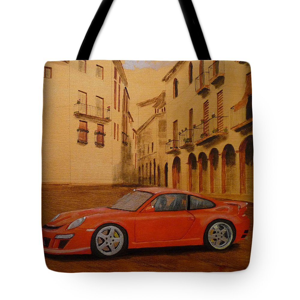 Car Tote Bag featuring the painting Red Gt3 Porsche by Richard Le Page
