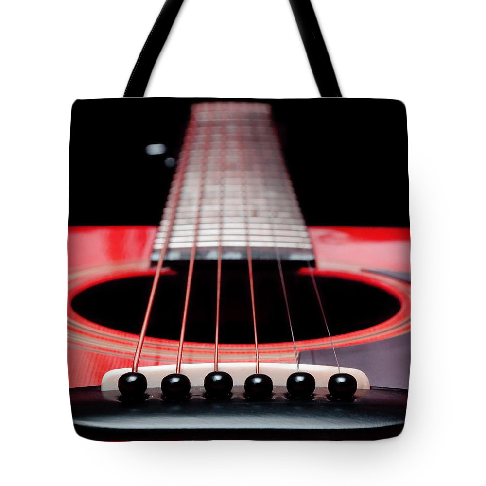 Andee Design Guitar Tote Bag featuring the photograph Red Guitar 16 by Andee Design