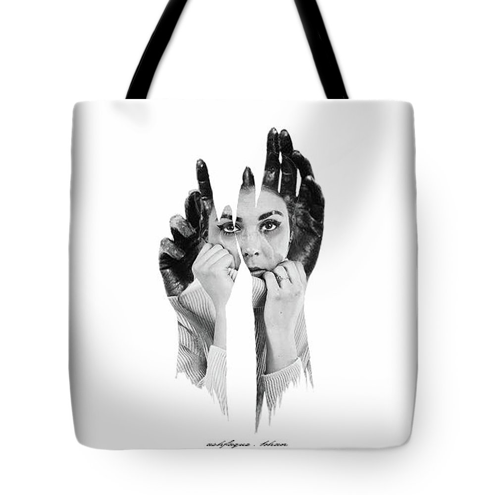 Digital Art Tote Bag featuring the digital art Red Handed by Ashfaque Khan
