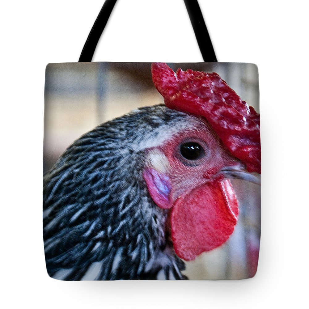 Chicken Tote Bag featuring the photograph Red Hat Chicken by Douglas Barnett