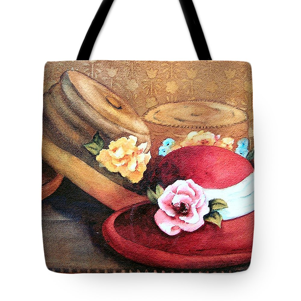 Hat Tote Bag featuring the painting Red Hat by Karen Stark