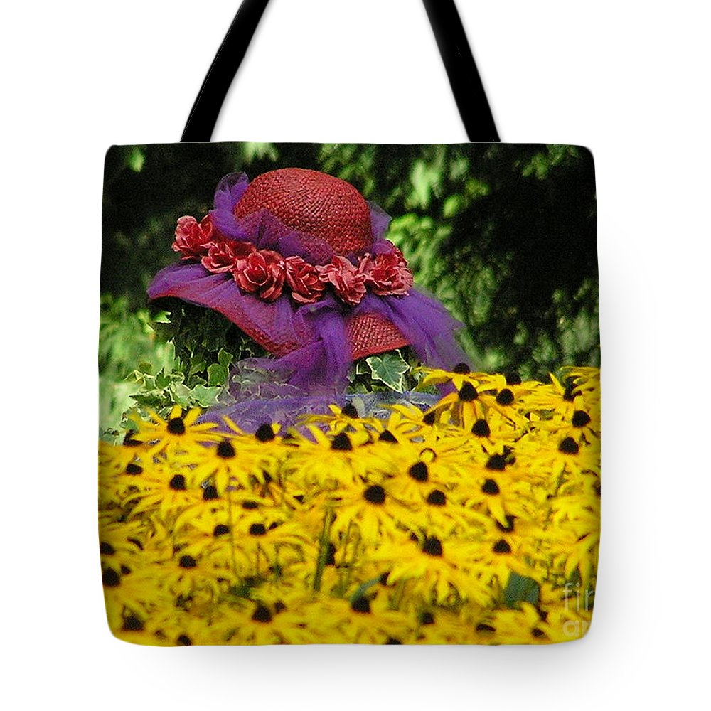 Red Hat Tote Bag featuring the photograph Red Hat Parade by Louise Magno