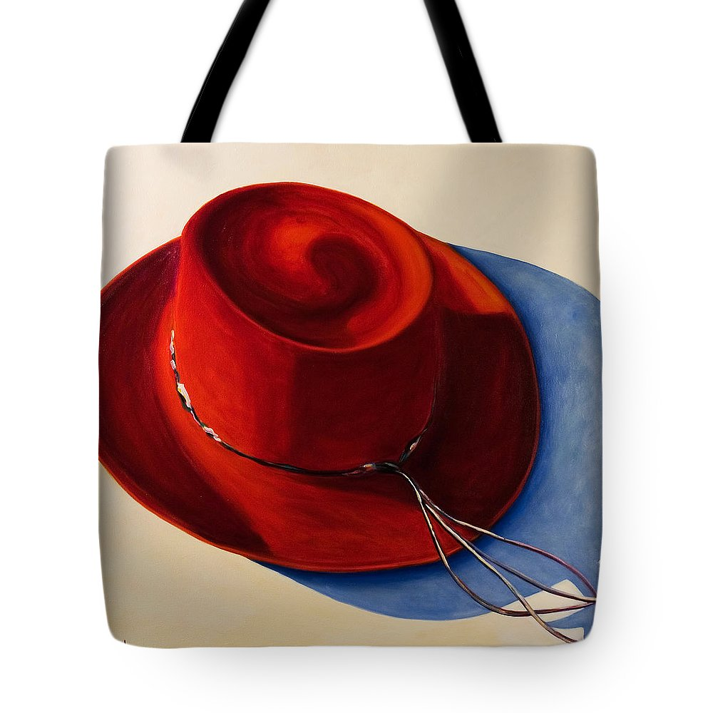 Red Hat Tote Bag featuring the painting Red Hat by Shannon Grissom