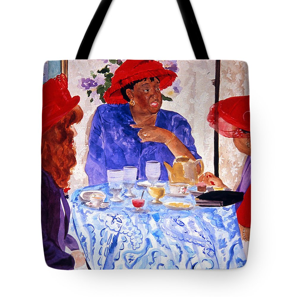 Red Hat Tote Bag featuring the painting Red Hatters Chatter by Jean Blackmer