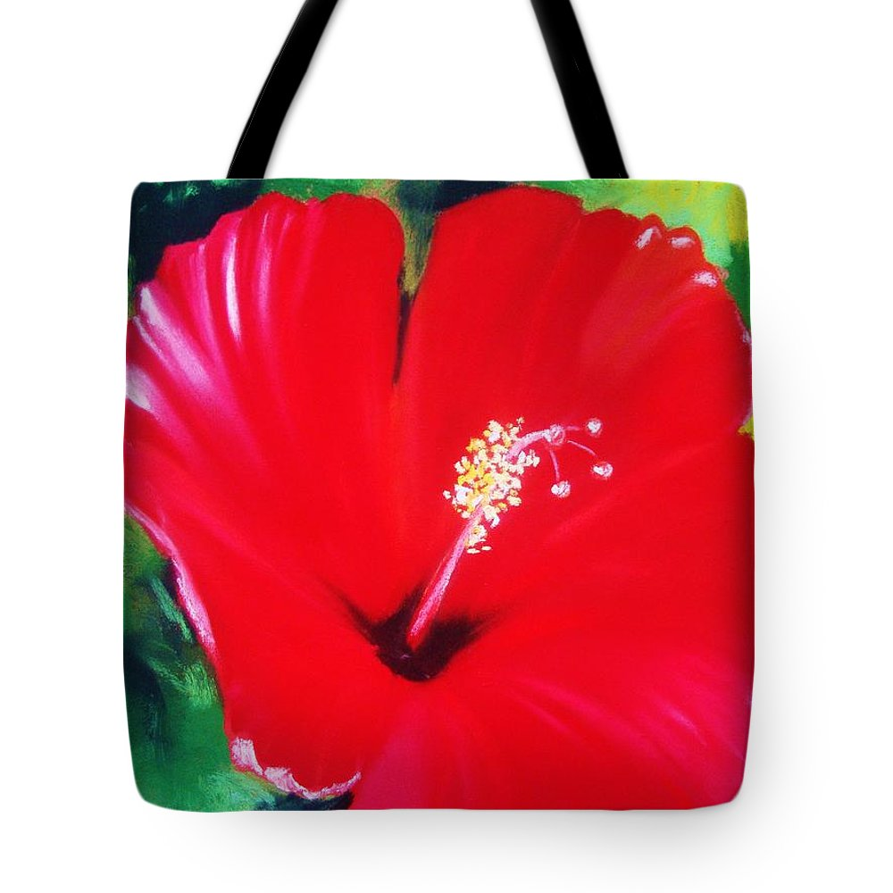 Bright Flower Tote Bag featuring the painting Red Hibiscus by Melinda Etzold