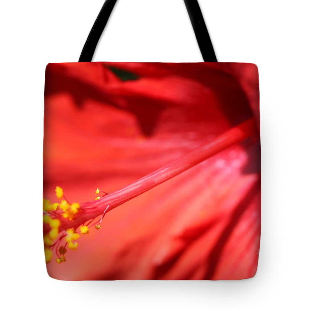 Red Tote Bag featuring the photograph Red Hibiscus by Nadine Rippelmeyer