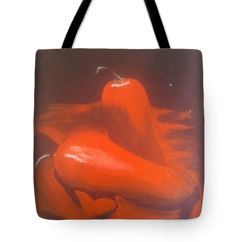 Chilli's Tote Bag featuring the painting Red Hot by Christine Daffie
