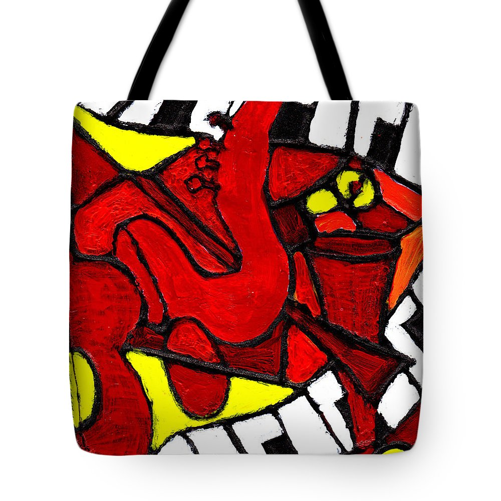 Jazz Tote Bag featuring the painting Red Hot Jazz by Wayne Potrafka