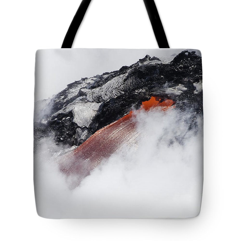 A'a Tote Bag featuring the photograph Red Hot Lava And Steam by Dave Fleetham - Printscapes