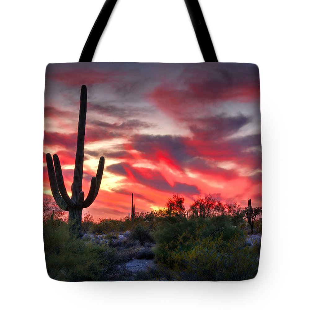 Saguaro Sunset Tote Bag featuring the photograph Red Hot Sonoran by Saija Lehtonen