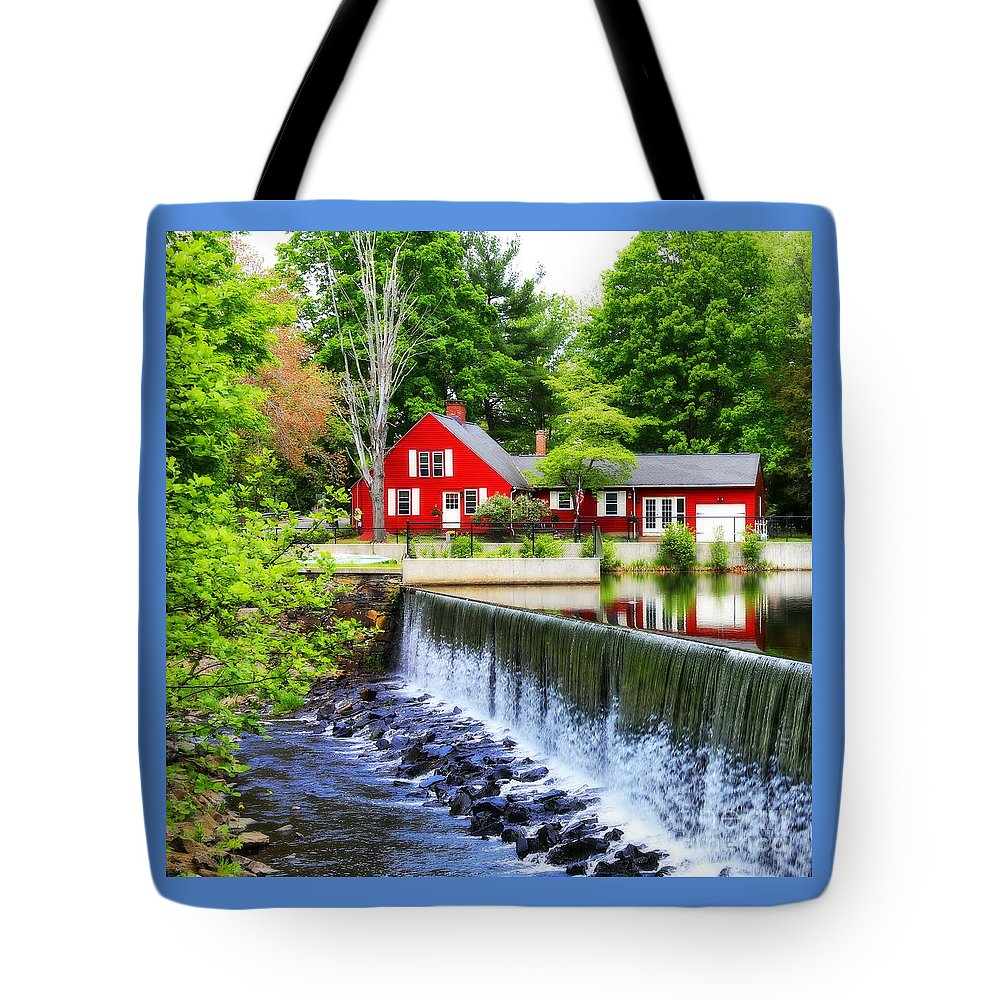 Red House By The Falls Tote Bag featuring the photograph Red House By The Falls by Marcel J Goetz Sr