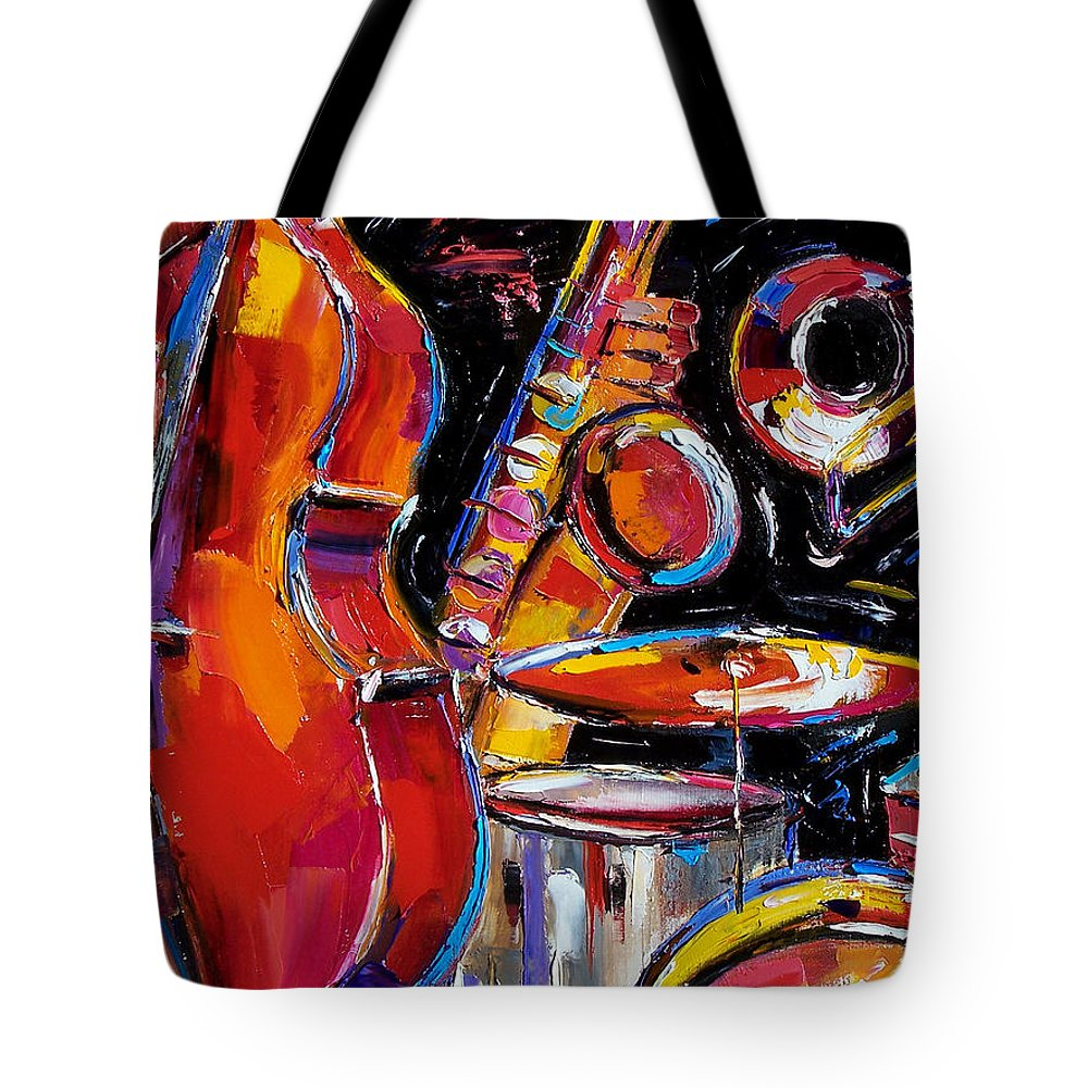 Jazz Tote Bag featuring the painting Red Jazz by Debra Hurd