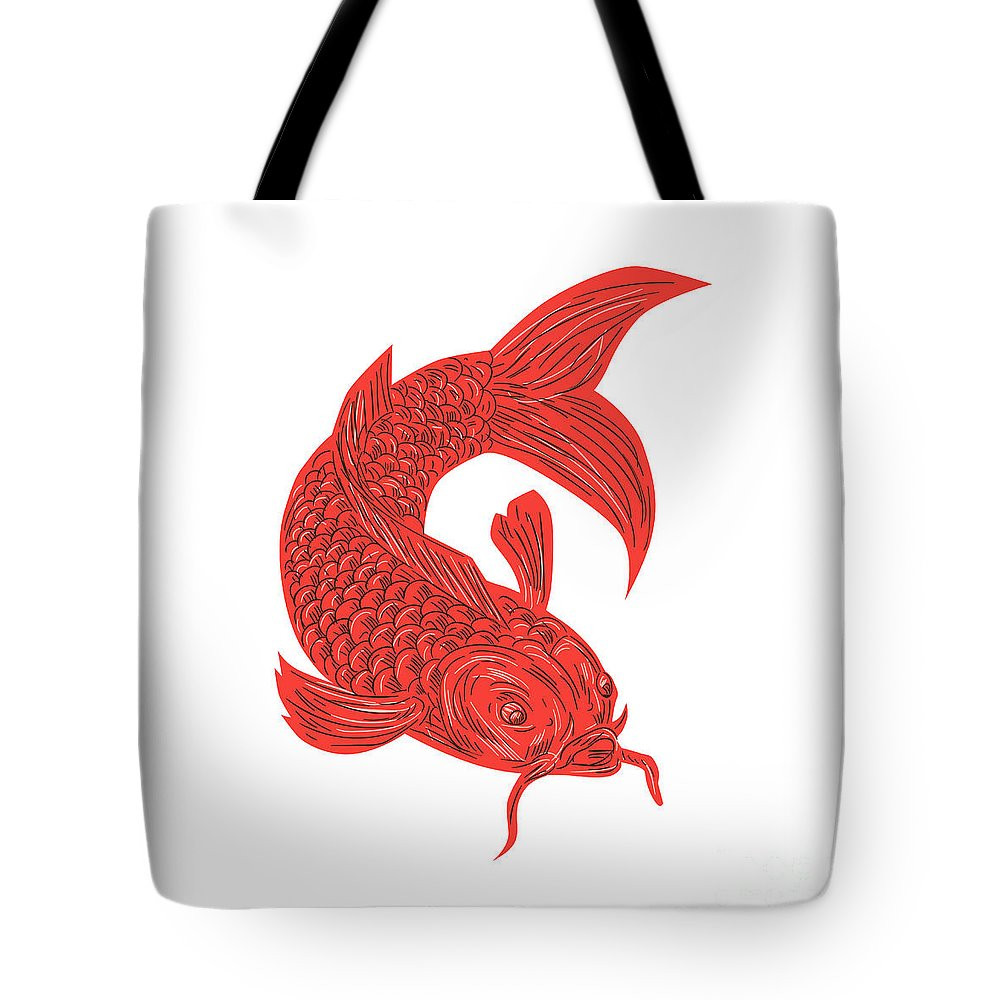 Drawing Tote Bag featuring the digital art Red Koi Nishikigoi Carp Fish Drawing by Aloysius Patrimonio