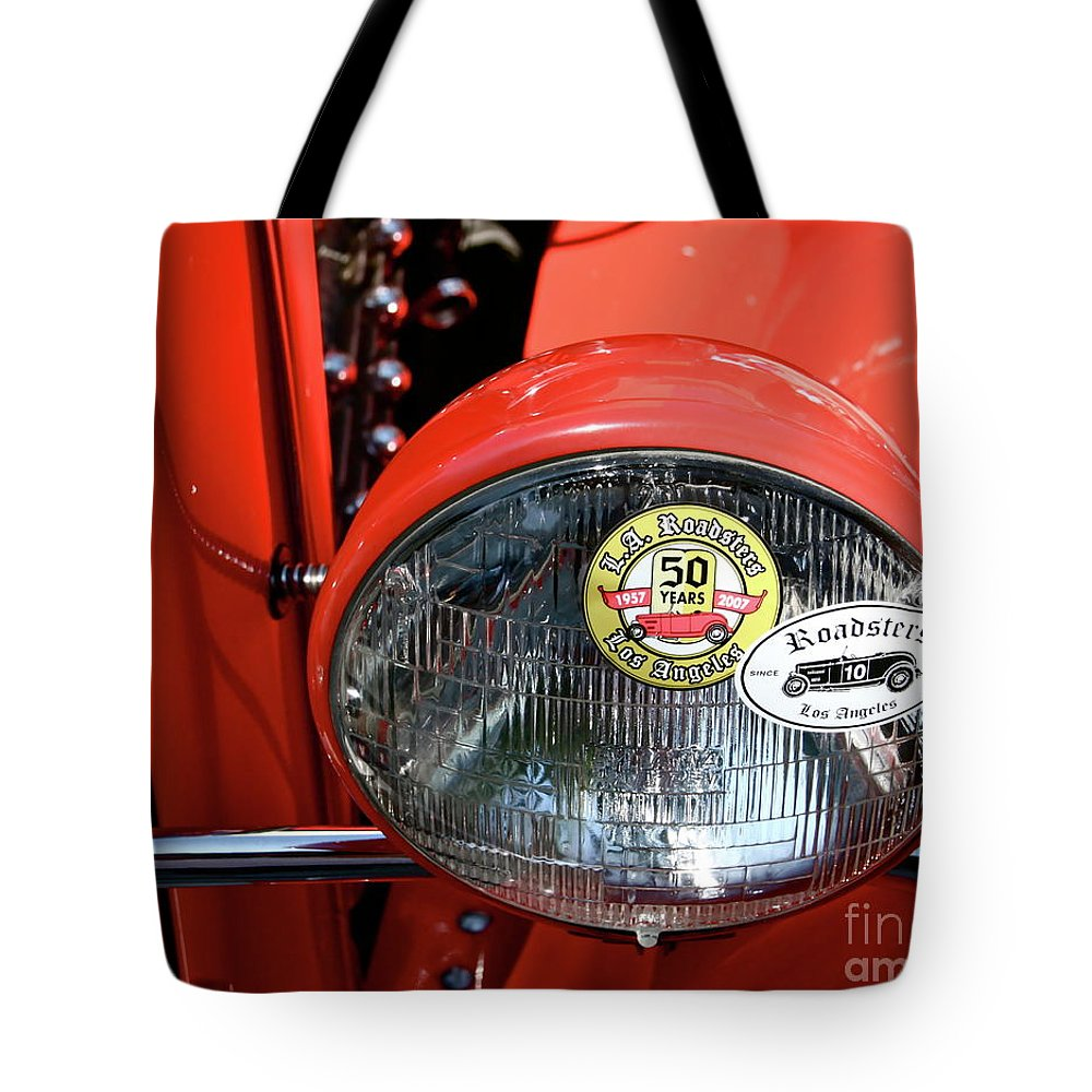 Red Roadster Tote Bag featuring the photograph Red La Roadster by Gwyn Newcombe