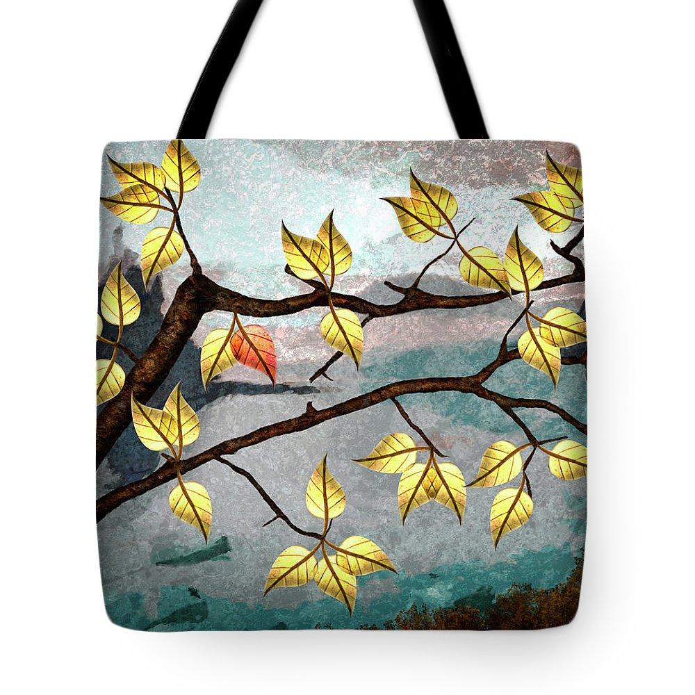 Digital Art Tote Bag featuring the digital art Red Leaf by Ken Taylor