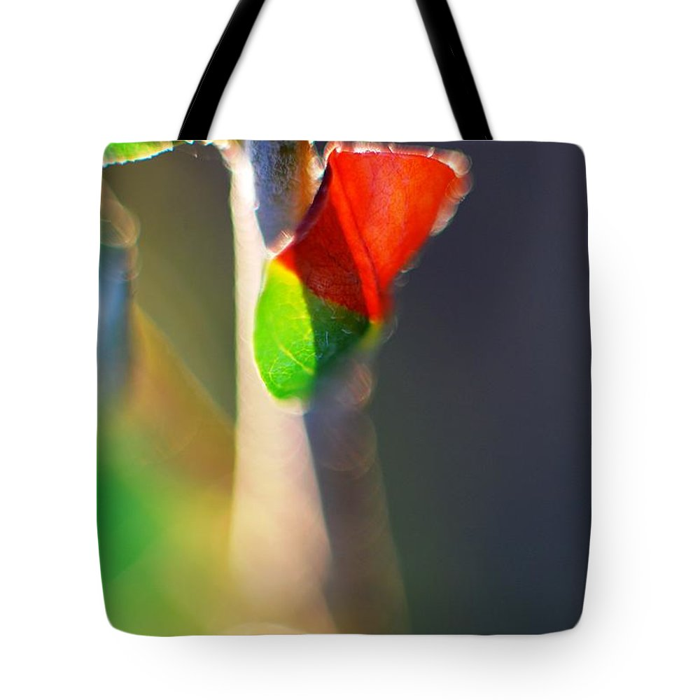 Macro Tote Bag featuring the photograph Red Leaf On Trunk by Catherine Lau