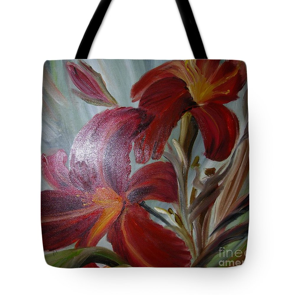 Red Tote Bag featuring the painting Red Lilies by Duygu Kivanc