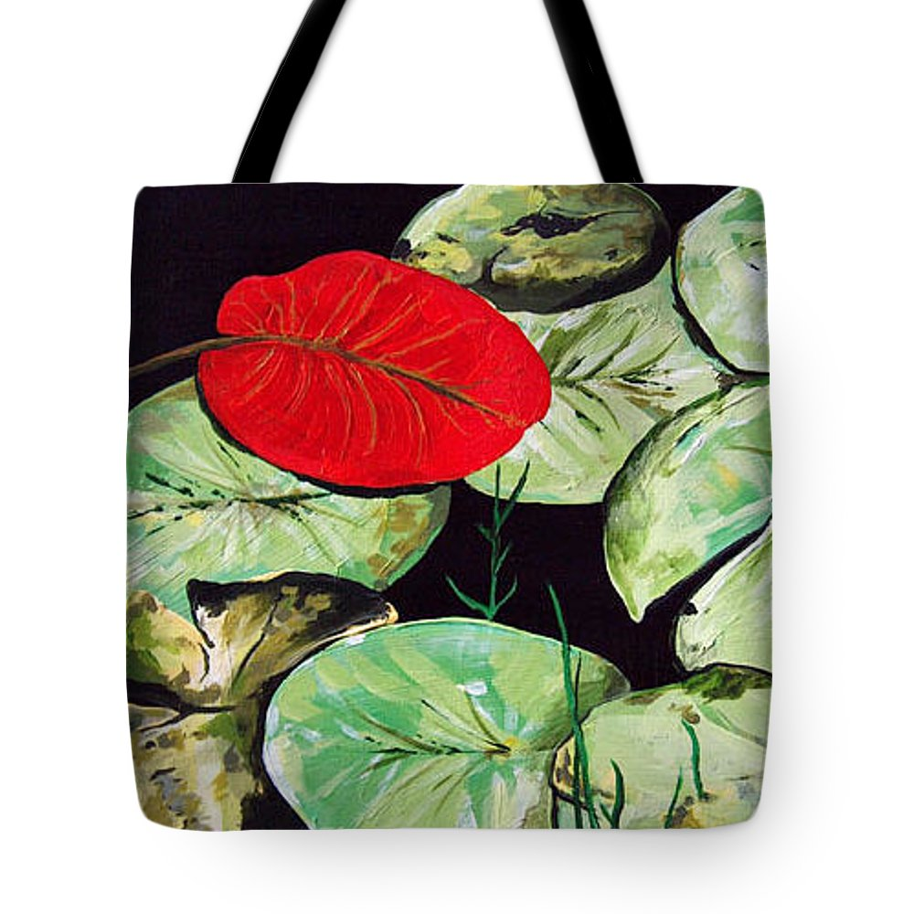 Red Tote Bag featuring the painting Red Lily by Racquel Morgan