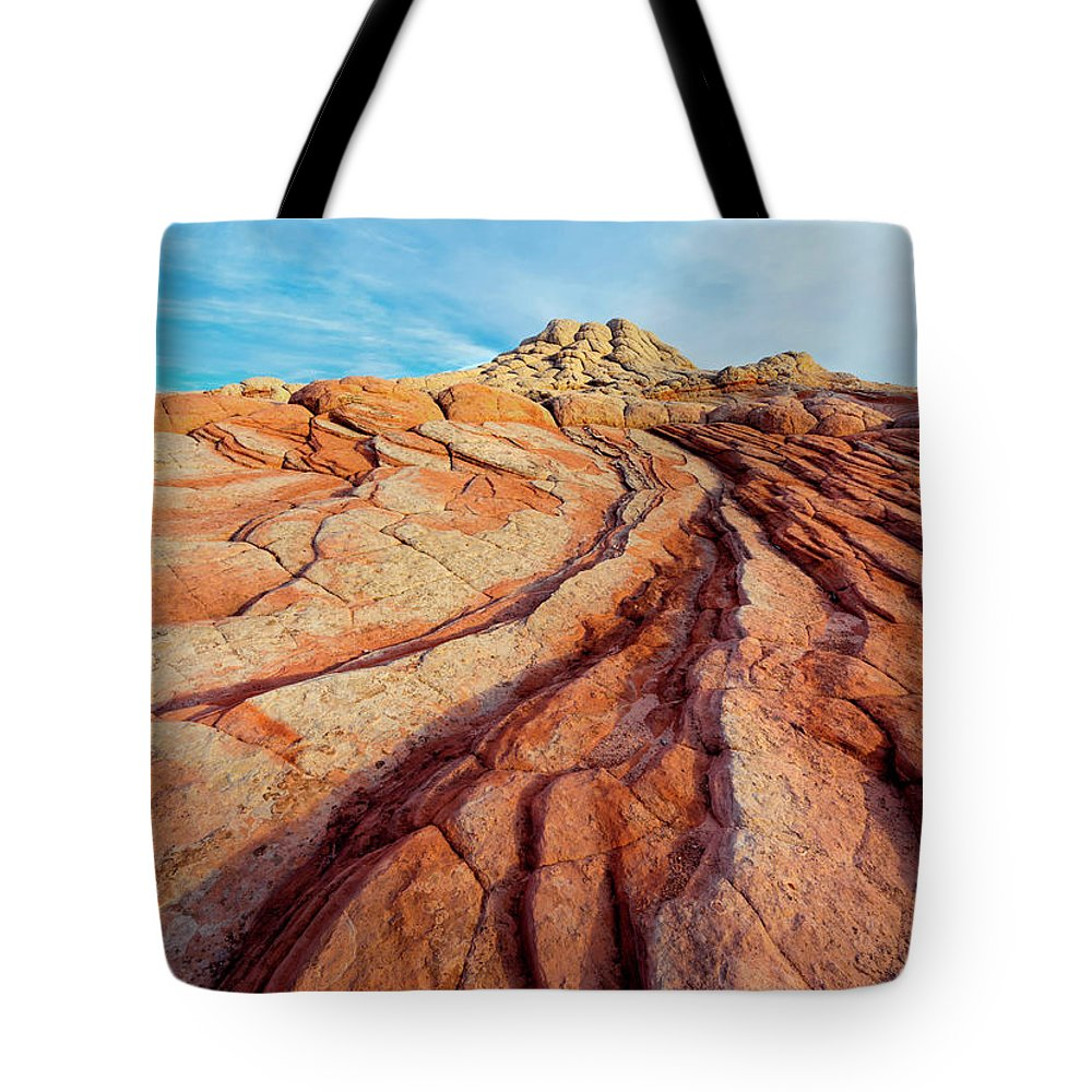 White Pocket Tote Bag featuring the photograph Red Lines by Mike Dawson
