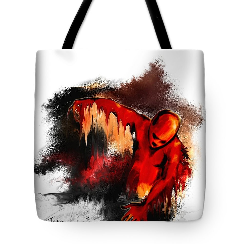 Red Man Passion Sureall Fire Tote Bag featuring the digital art Red Man by Veronica Jackson