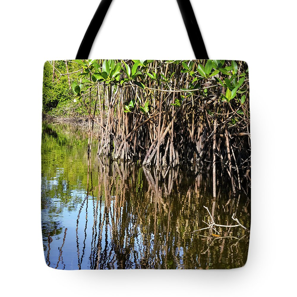 Naples Tote Bag featuring the photograph Red Mangrove Roots Reflections In The Gordon River by Bob Phillips