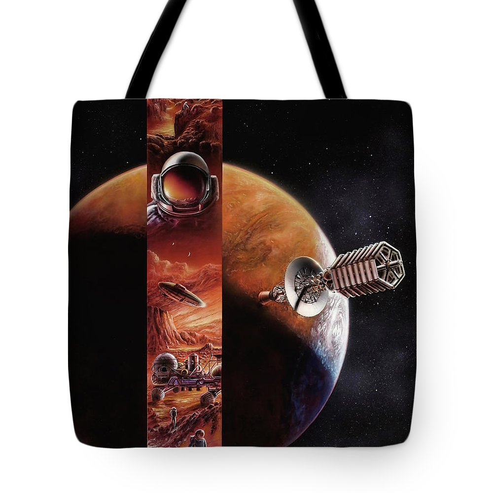 Space Tote Bag featuring the painting Red Mars Cover Painting by Don Dixon