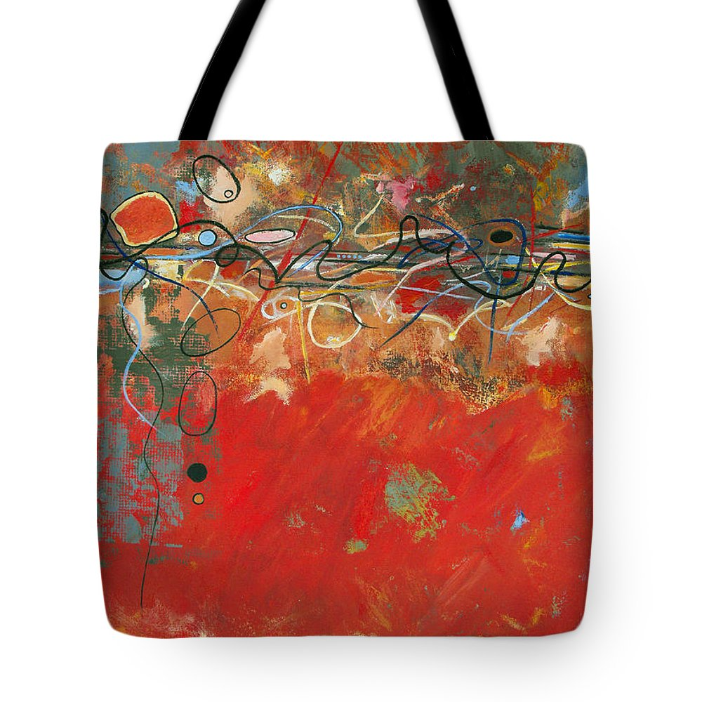 ruth Palmer Abstract Gestural Color Red Painting Acrylic Black Orange Blue Yellow Green Decorative Tote Bag featuring the painting Red Meander by Ruth Palmer