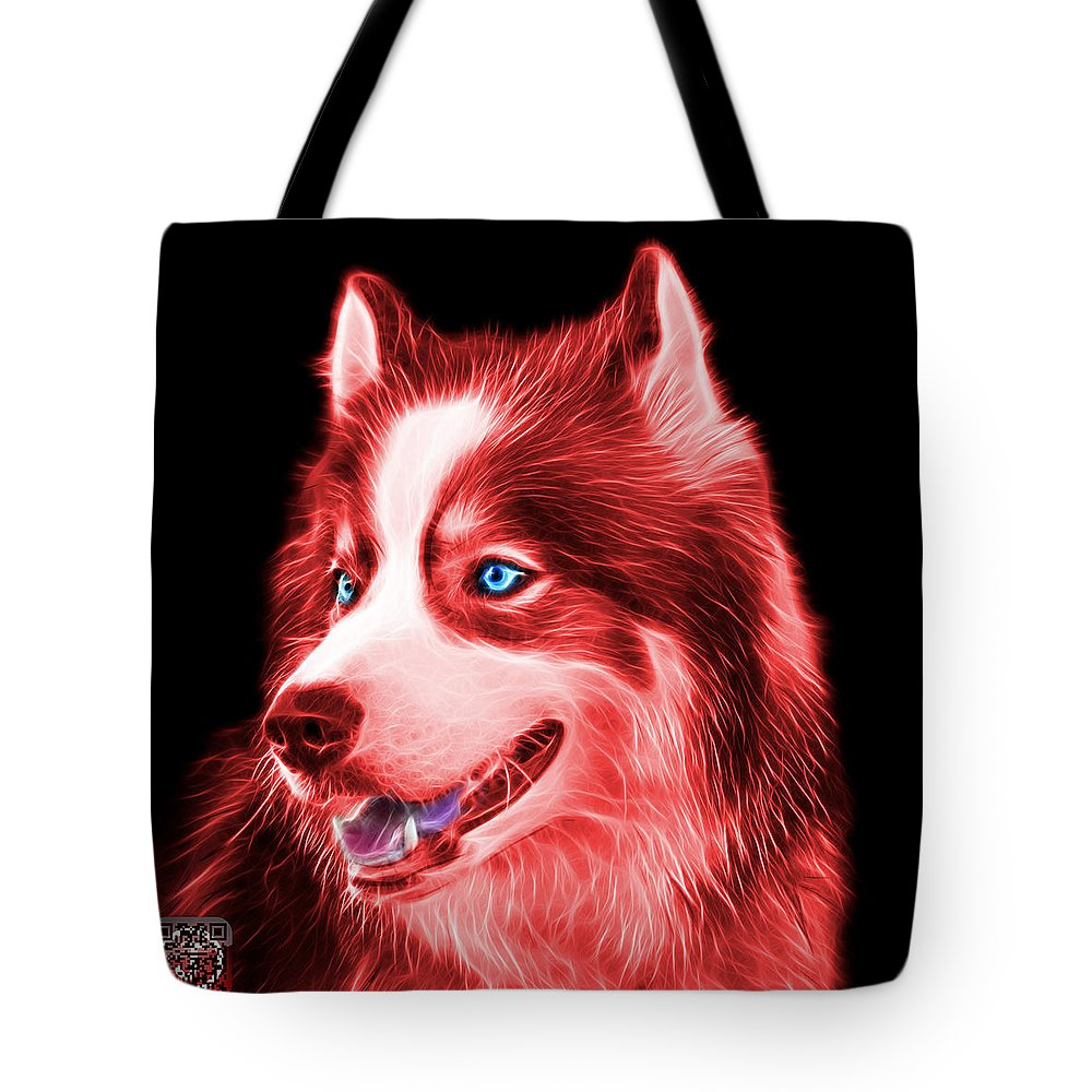 Siberian Husky Tote Bag featuring the painting Red Modern Siberian Husky Dog Art - 6024 - Bb by James Ahn