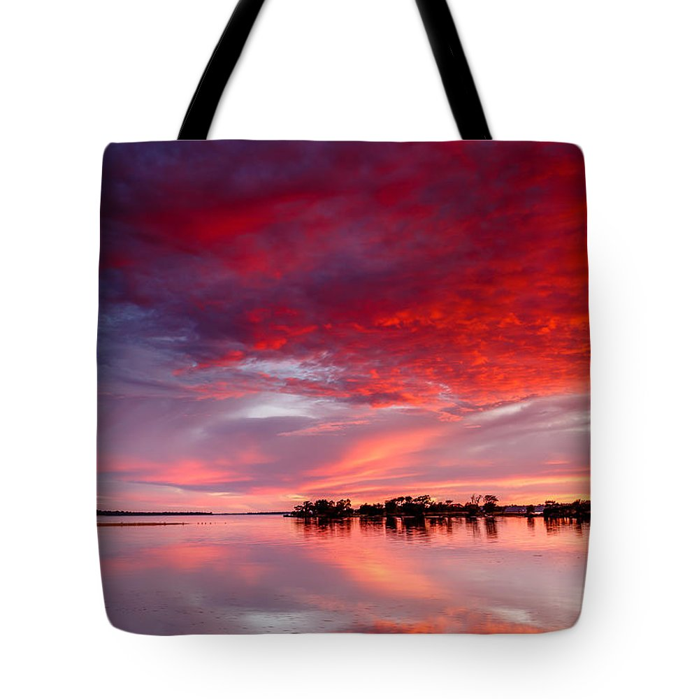 Sunrise Tote Bag featuring the photograph Red Morning by Robert Caddy