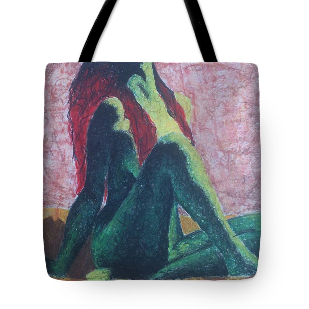 Pastel Tote Bag featuring the pastel Red Nr.02 by Archynah