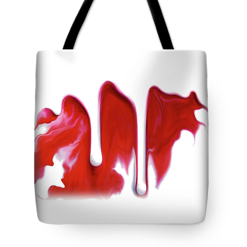 Carmine Tote Bag featuring the painting Red On White by Brian McCarthy